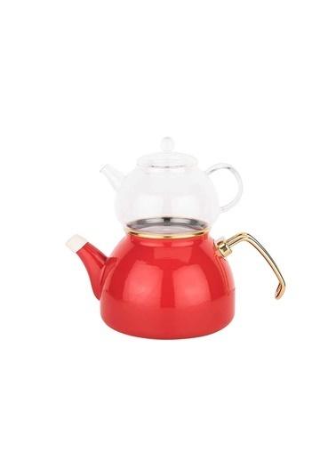 Tantitoni Cam Demlikli Kırmızı Emaye Çaydanlık 980ML/2300ML Kırmızı